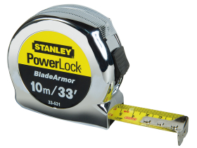 Stanley PowerLock BladeArmor Pocket Tape 10m/33ft (Width 25mm)