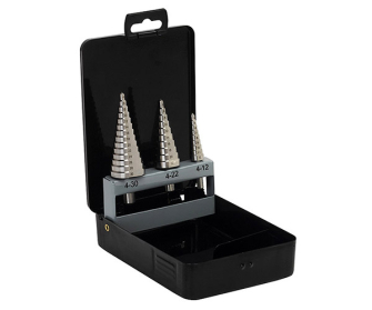 Siegen S0846 From Sealey Step Drill Bit Set 3pc Metric DIN338 - Drill Bits & Sets
