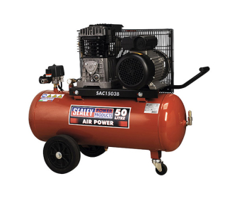 Sealey SAC1503B Compressor 50ltr Belt Drive 3hp with Cast Cylinders & Wheels - 230V-1ph