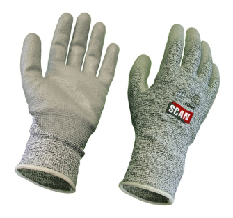 Scan Grey PU Coated, Cut 5 Liner Gloves - Pair of Gloves