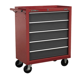 Sealey AP22505BB Rollcab 5 Drawer with Ball Bearing Runners Red/G