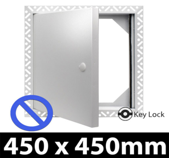Non Fire Rated Metal Access Panel - Security Lock - 450x450mm - Beaded Frame