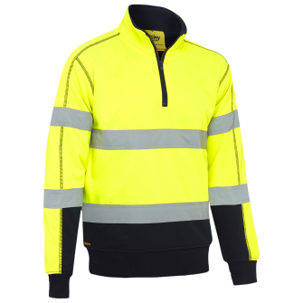 Bisley Workwear Taped Hi Vis Zip Fleece Pullover With Sherpa Lining