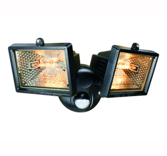 Byron Twin Halogen Floodlights with PIR - Motion Detector White 1
