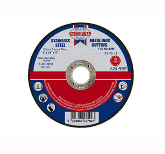 Faithfull Cut Off Disc for Metal 100 x 1.2 x 16mm - Disc Flatcut