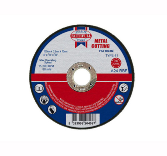 Faithfull Cut Off Disc for Metal 100 x 3.2 x 16mm - Disc Flatcut
