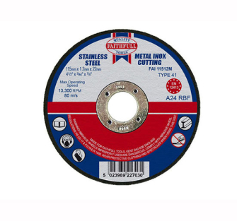 Faithfull Cut Off Disc for Metal 115 x 1.2 x 22mm - Disc Flatcut