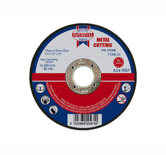 Faithfull Cut Off Disc for Metal 115 x 3.2 x 22mm - Disc Flatcut