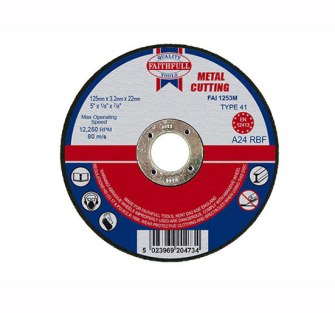 Faithfull Cut Off Disc for Metal 125 x 3.2 x 22mm - Disc Flatcut