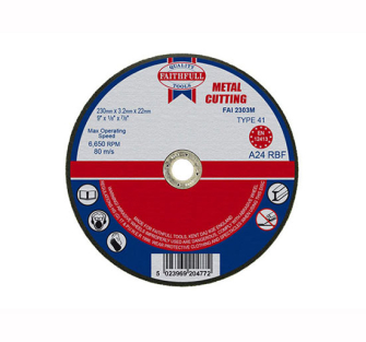 Faithfull Cut Off Disc for Metal 230 x 3.2 x 22mm - Disc Flatcut