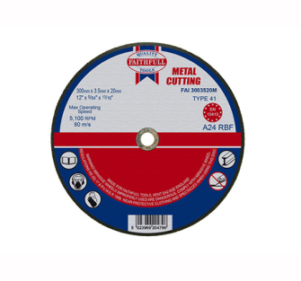 Faithfull Cut Off Disc for Metal 300 x 3.5 x 20mm - Disc Flatcut