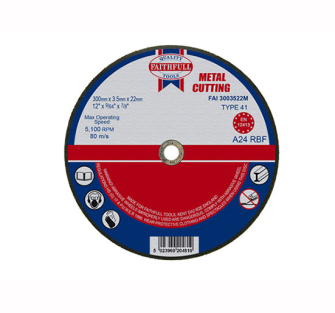 Faithfull Cut Off Disc for Metal 300 x 3.5 x 22mm - Disc Flatcut