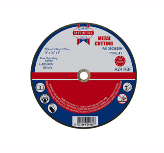 Faithfull Cut Off Disc for Metal 350 x 2.8 x 25mm - Disc Flatcut