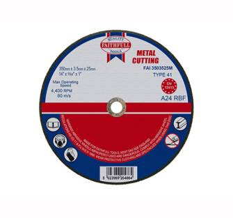 Faithfull Cut Off Disc for Metal 350 x 3.5 x 25mm - Disc Flatcut