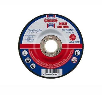 Faithfull Cut Off Disc for Metal Depressed Centre 115 x 3.2mm x 2