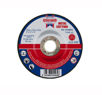 Faithfull Cut Off Disc for Metal Depressed Centre 125 x 3.2 x 22m