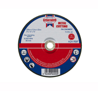 Faithfull Cut Off Disc for Metal Depressed Centre 230 x 3.2 x 22m