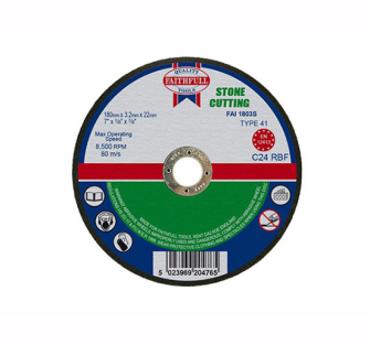 Faithfull Cut Off Disc for Stone 180 x 3.2 x 22mm - Disc Flatcut