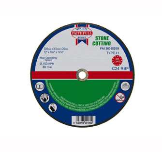 Faithfull Cut Off Disc for Stone 300 x 3.5 x 20mm - Disc Flatcut