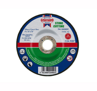 Faithfull Cut Off Disc for Stone Depressed Centre 100 x 3.2 x 16m