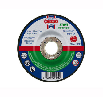 Faithfull Cut Off Disc for Stone Depressed Centre 115 x 3.2 x 22m