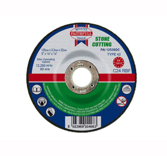 Faithfull Cut Off Disc for Stone Depressed Centre 125 x 3.2 x 22m