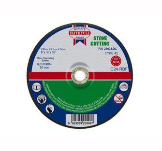 Faithfull Cut Off Disc for Stone Depressed Centre 230 x 3.2 x 22m