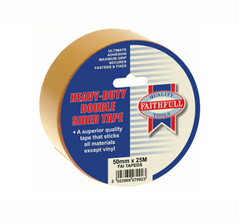 Faithfull Double Sided Tape Heavy-Duty 50mm x 25m - Tape Doublesi