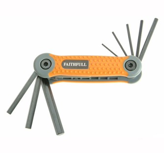 Faithfull Folding Hex Key Set 8 Metric (1.5-8mm) - Key Hexagon Se
