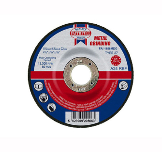 Faithfull Grinding Disc for Metal Depressed Centre 115 x 6.5mm x