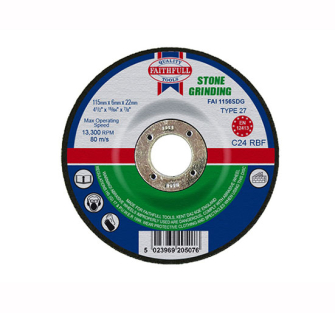 Faithfull Grinding Disc for Stone Depressed Centre 115 x 6.5mm x