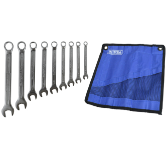 Faithfull XMS18SPANSET Combination Spanner Set with Roll, 9 Piece