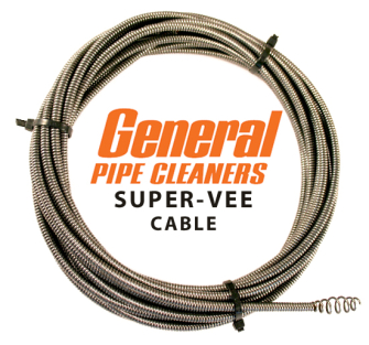 General Wire SuperVee Drain Cleaning Cable - 7.5m x 6mm