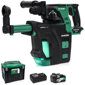 HiKOKI DH36DPB-501 MultiVolt Cordless Rotary Hammer Drill - 36V (With Dust Collector) - DH36DPB-501