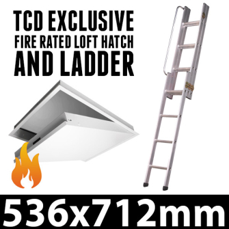 Loft Hatch and Ladder - Fire Rated Attic Hatch - 3 Section Loft L