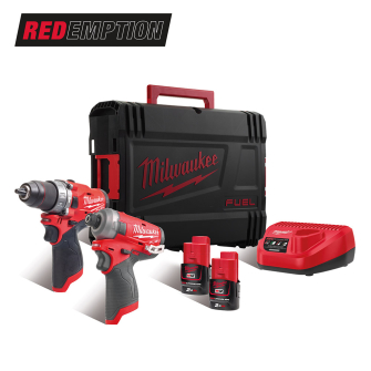 Milwaukee M12FPP2AQ-202X FUEL Twin Pack with M12FPD, M1FQID Kit