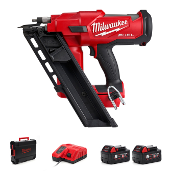 Milwaukee M18FFN-502C 18v Fuel Framing Nailer With 2 x 5.0Ah Batteries and Charger