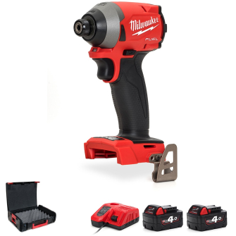 "Milwaukee M18FID2-402X Fuel 1/4"" Impact Driver Kit With 2 X 4.0Ah"