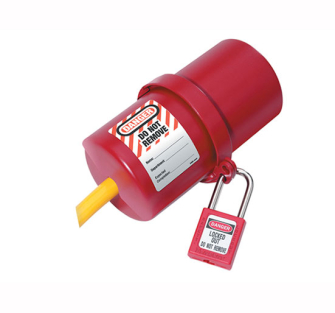 MasterLock Lockout Electrical Plug Cover Large - With Warning Lab