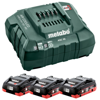 Metabo 685132380 3 X 4.0Ah 18V LiHD Batteries with ASC 55 Charger