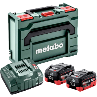 Metabo 685142000 2 X 10.0Ah LiHD Batteries Kit with ASC 145 Charger and metaBOX
