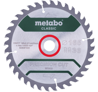 Metabo Precision Wood Classic 165 X 20 Circular Saw Blade - 62866