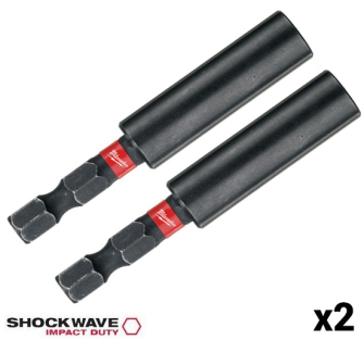 2 x Milwaukee 4932352406 Shockwave Magnetic Bit Holders - 1/4in H