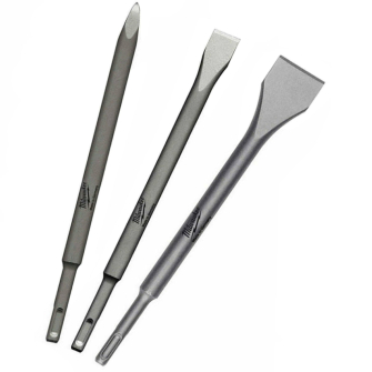 Milwaukee 4932430001 SDS Plus Flat, Pointed and Wide Chisel Set