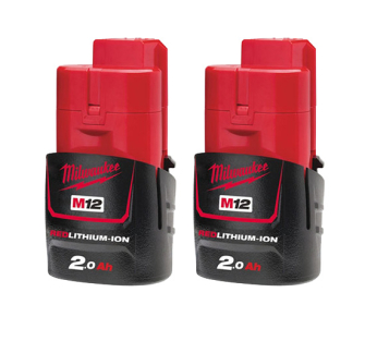 Milwaukee M12B2 12v 2 x 2.0Ah Red Lithium-Ion Battery