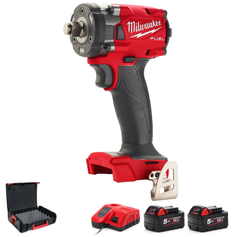 """Milwaukee M18FIW2F12-502X Fuel 1/2"""" Compact Impact Wrench with Friction Ring Kit"""