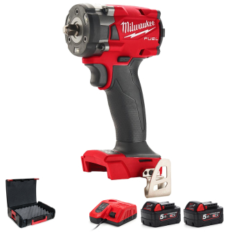 """Milwaukee M18FIW2F38-502X Fuel 3/8"""" Compact Impact Wrench with Friction Ring 5.0Ah Kit"""