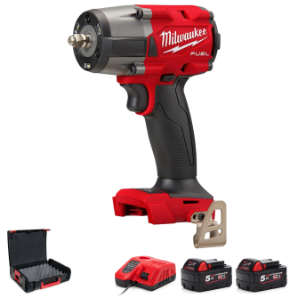 """Milwaukee M18FMTIW2F12-502X Mid Torque 1/2"""" Impact Wrench with Friction Ring Kit - 2 x 5Ah kit"""
