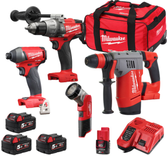 Milwaukee M18FPP4M-524B Cordless 3 Piece Kit with Torch 3 x 5ah