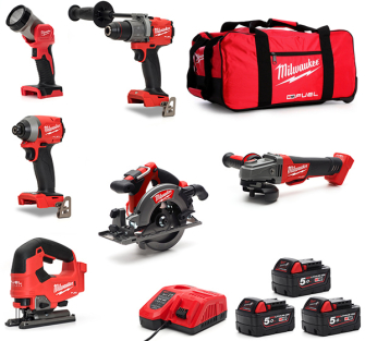 Milwaukee M18FPP6D2-503B Fuel 6 Piece Kit 3 X 5.0Ah Batteries